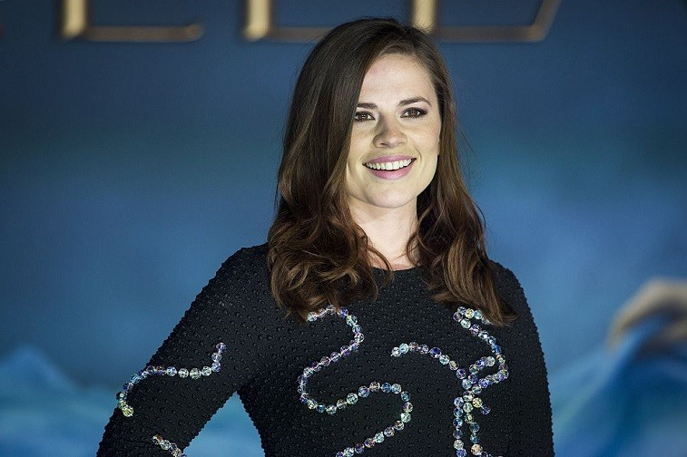 British actress Hayley Atwell poses for photographers on the red carpet ahead of the UK premiere of the film 'Cinderella' in central London on March 19, 2015.