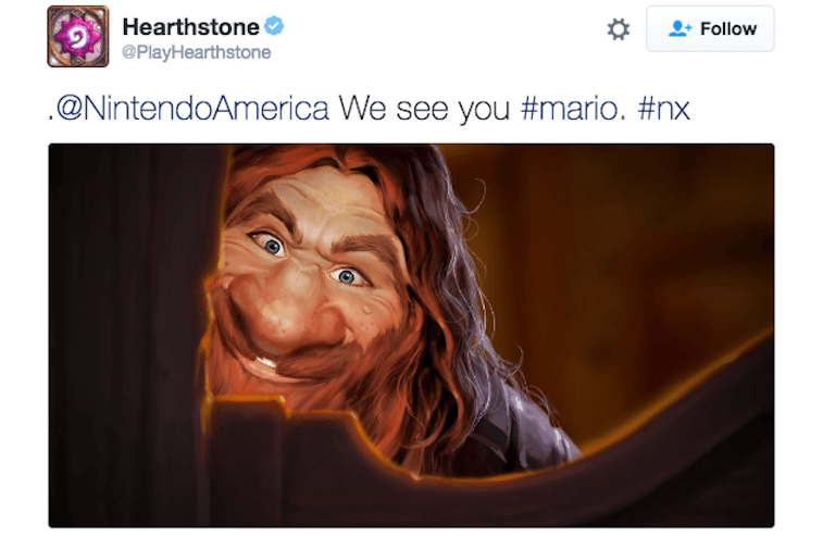 'Hearthstone' tweeting at Nintendo