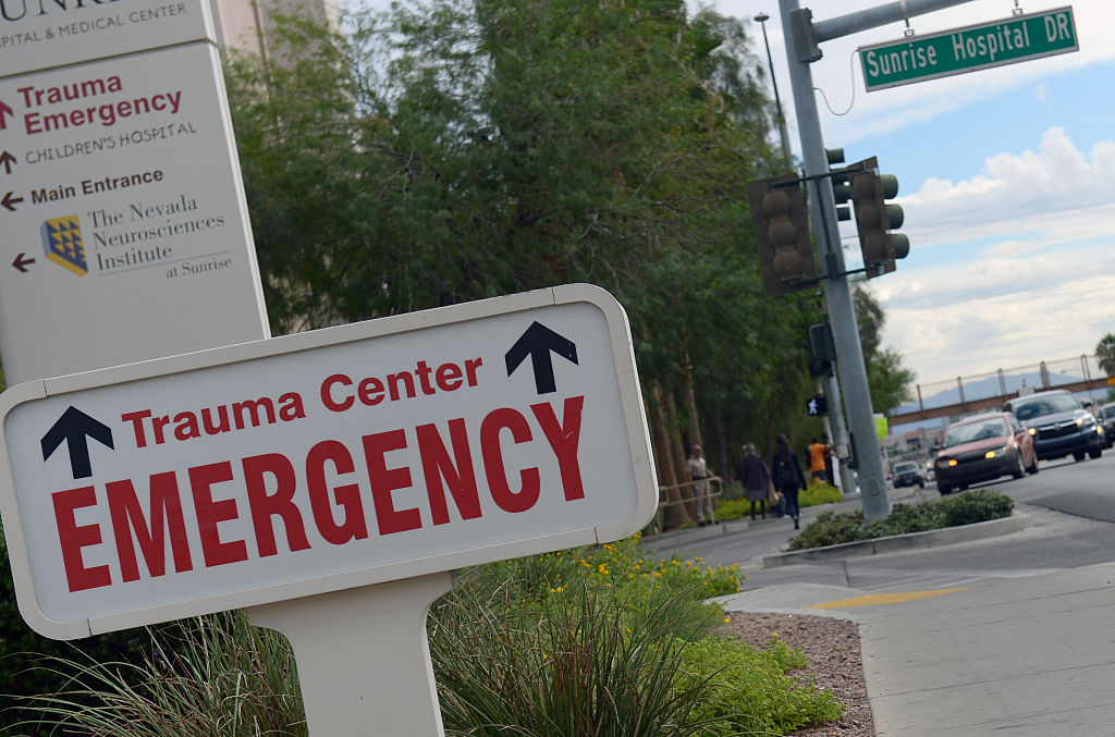 The entrance sign to a Las Vegas hospital