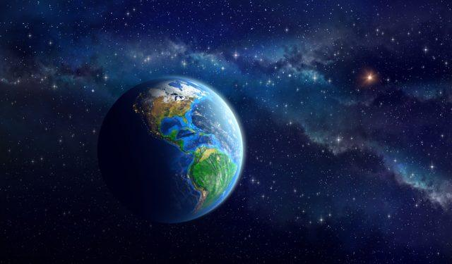 Imaginary view of the Earth in outer space