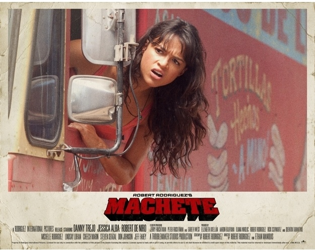 Promotional poster for 'Machete' featuring Michelle Rodriguez