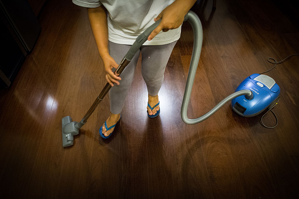 maid cleaning floor