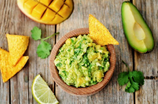 mango guacamole with corn chips