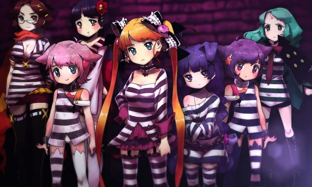 Video game still of a line of girls in striped prison jumpsuits