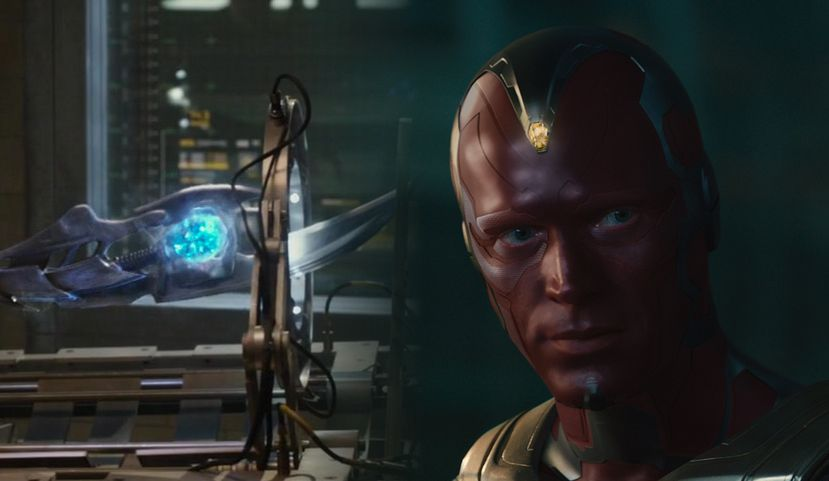 Vision stands next to Loki's scepter