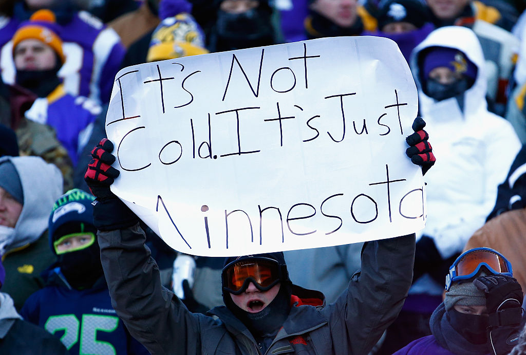 A fan holds a sign during a Minnesota Vikings football game