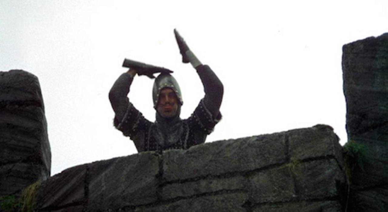 In classic European fashion, a knight from Monty Python and the Holy Grail taunts onlookers