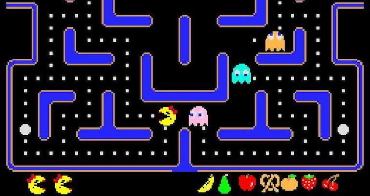 Ms. Pac-Man running from ghosts