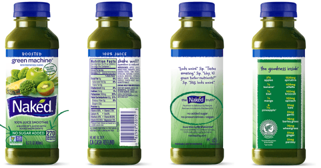 Naked Juices of green juice in a row.