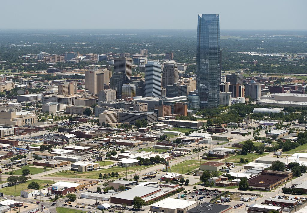 Downtown Oklahoma City from the sky