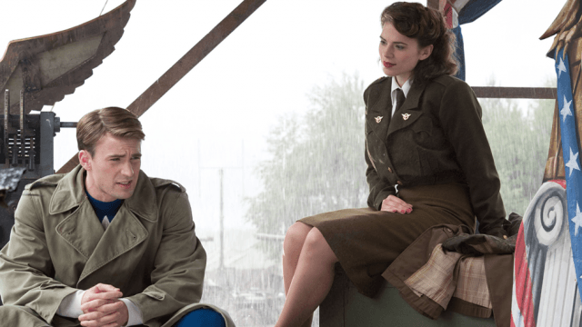 Steve Rogers and Peggy Carter sitting and talking together.