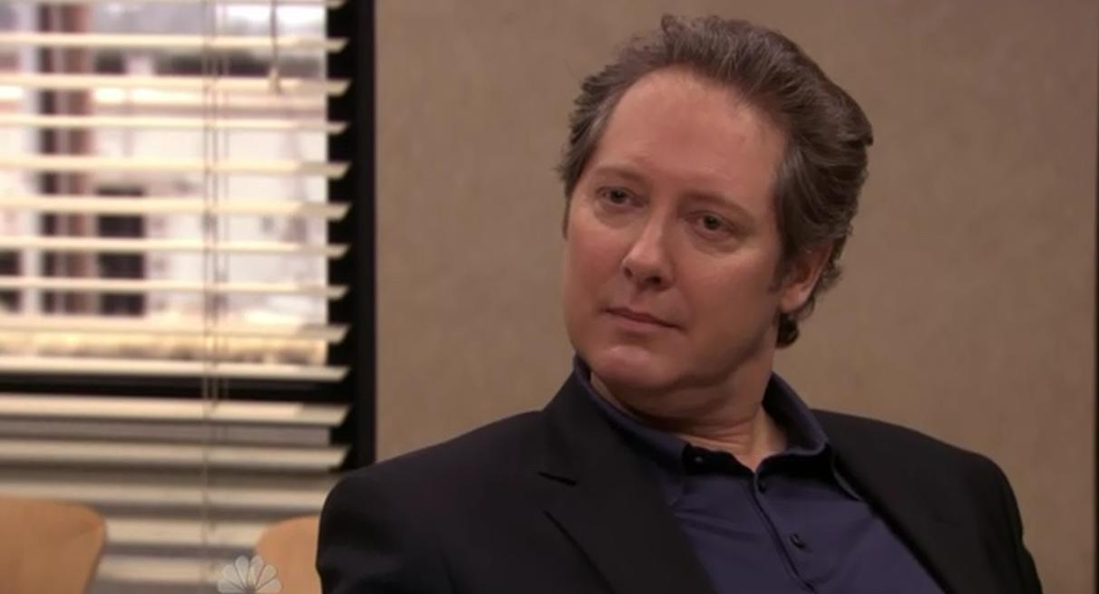 James Spader as Robert California, the man who took a shortcut to the Dunder Mifflin c-suite and became CEO on The Office