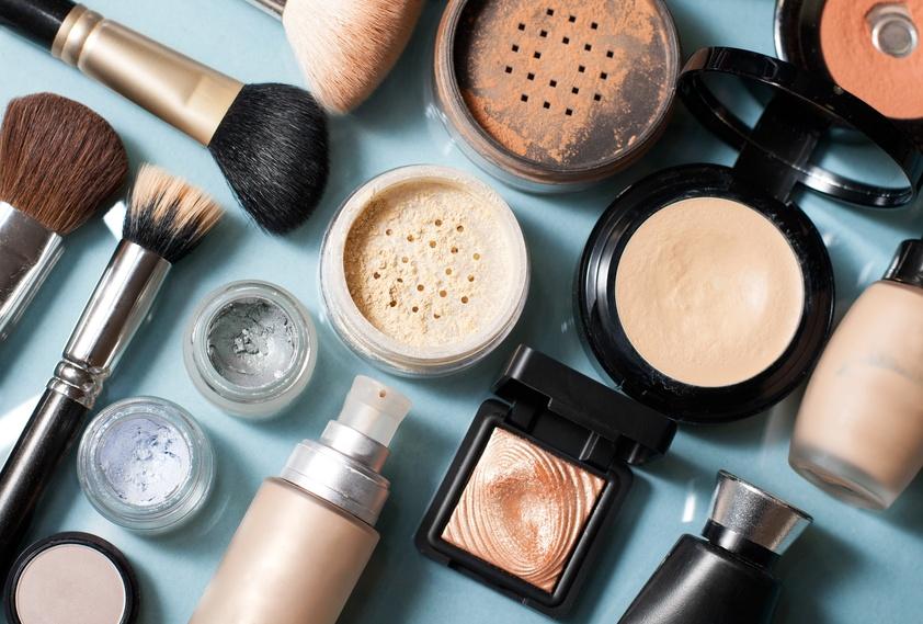 cosmetic powder, concealer, eye shadow brush, blush, foundation