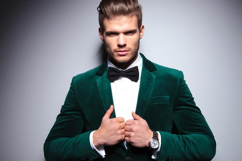 stylish man in an elegant velvet suit
