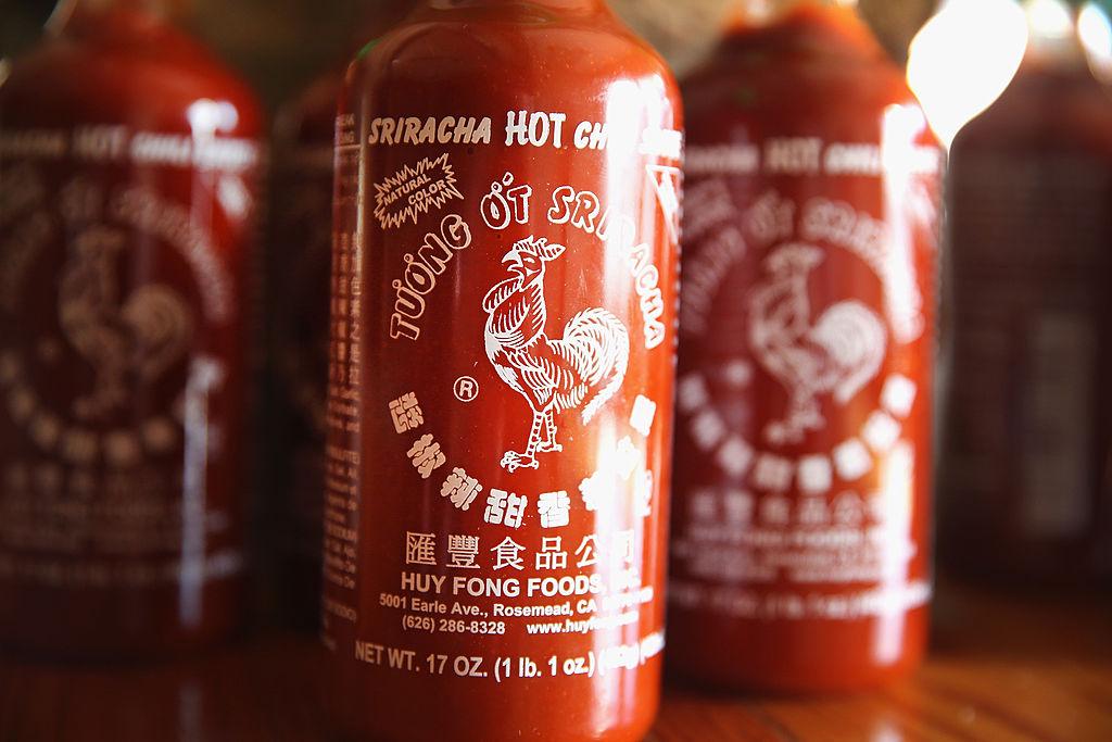 Bottles of Sriracha chili sauce