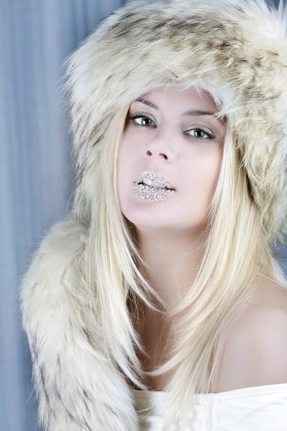 studio shot of winter girl