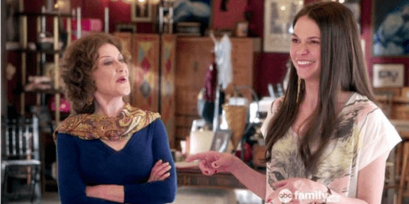 Sutton Foster and Kelly Bishop laughing in Bunheads