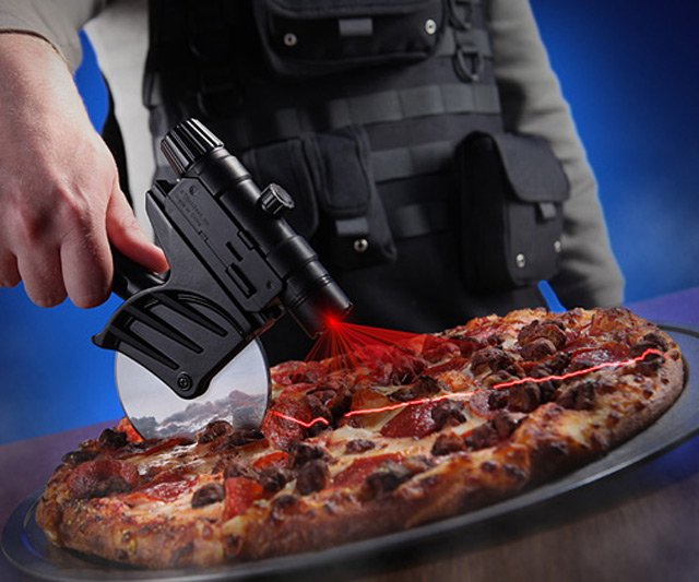 Tactical laser-guided pizza cutter