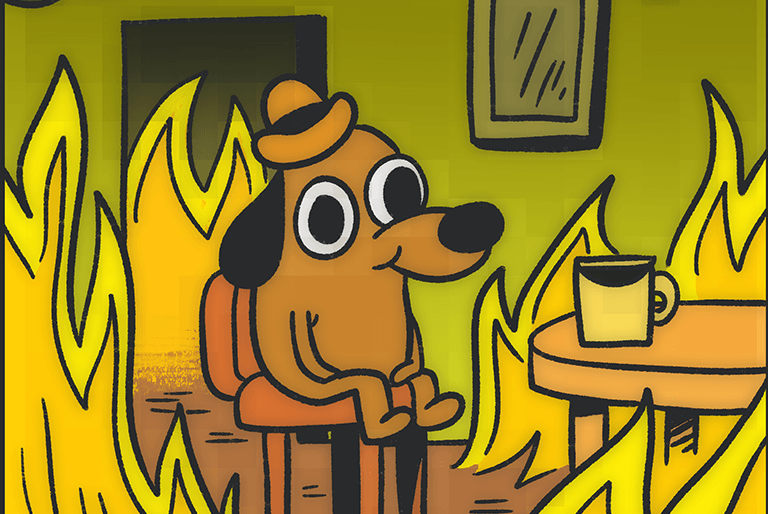 """The classic """"This is fine"""" comic, simulating how many people in debt may feel at any given moment"""