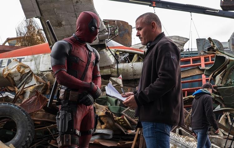 Tim Miller on the set of Deadpool