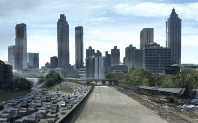 A shot of the Atlanta skyline from the first episode of 'The Walking Dead'