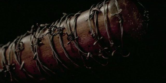 Lucille, the barbed wire baseball bat, in a promotional image from 'The Walking Dead''s Season 7.