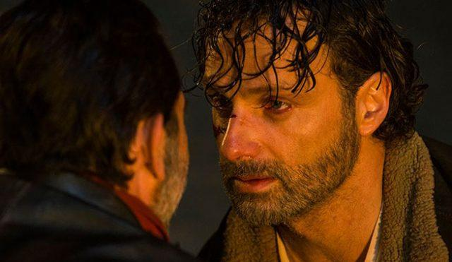 Negan (Jeffrey Dean Morgan) and Rick (Andrew Lincoln) face off in a scene from the seventh season premiere of 'The Walking Dead.'