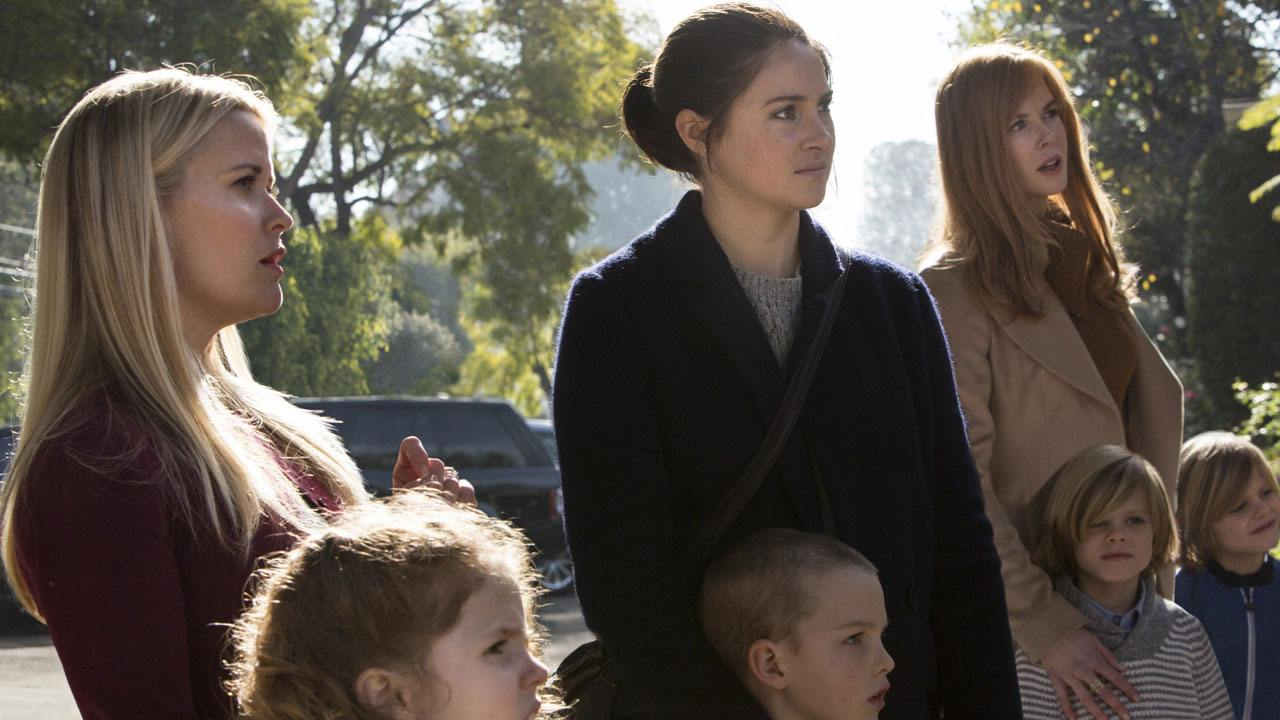 Three women stand next to their kids in Big Little Lies