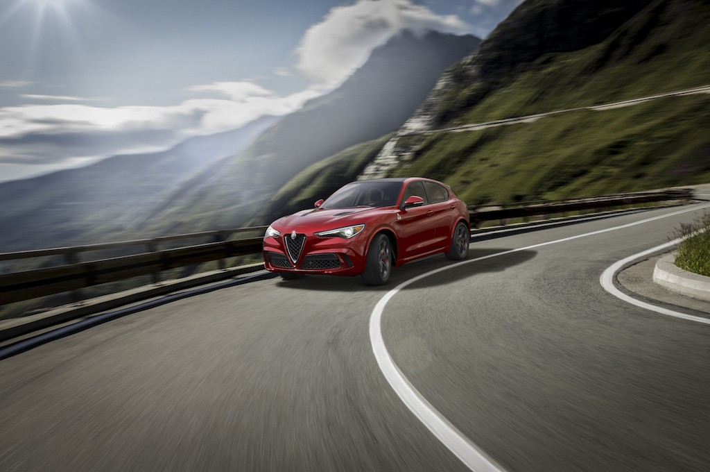 2018 Alfa Romeo Stelvio Quadrifoglio driving on a road