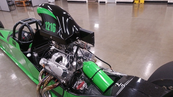 A green and black 2005 Race Tech dragster