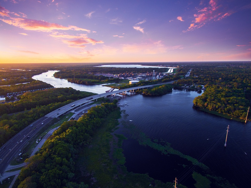 Aerial view of St. Johns River in Florida