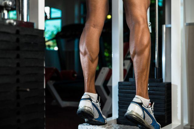 Man performing calf raises