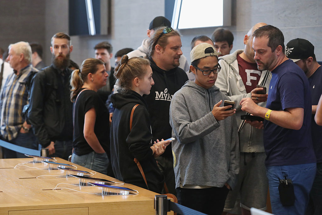 Customers in line at the apple store