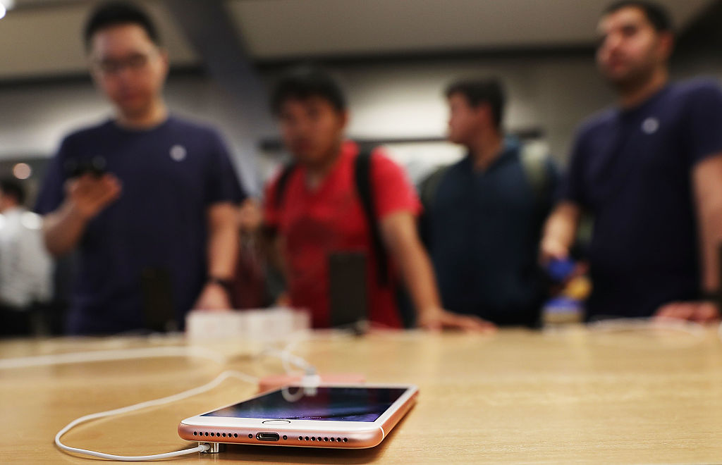The new iPhone 7 is displayed on a table at an Apple store