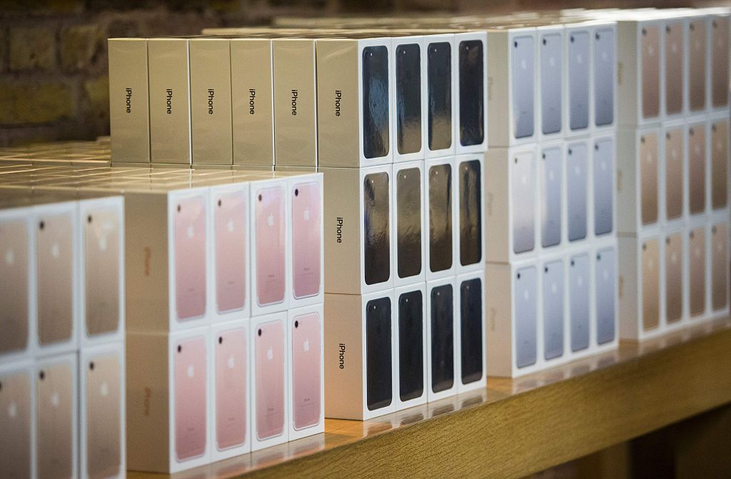 The new iPhone 7 smartphone in its box is on display on the day of its release at Covent Garden