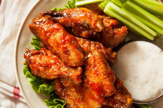 Barbecue chicken wings.