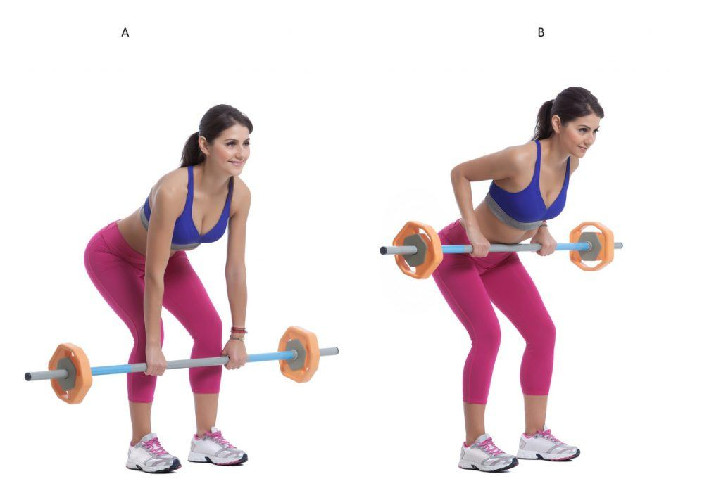 young woman doing barbell rows