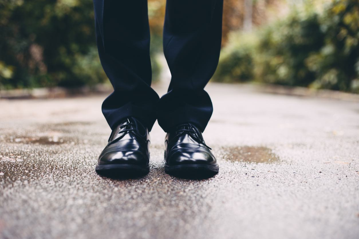 Black shoes of the groom