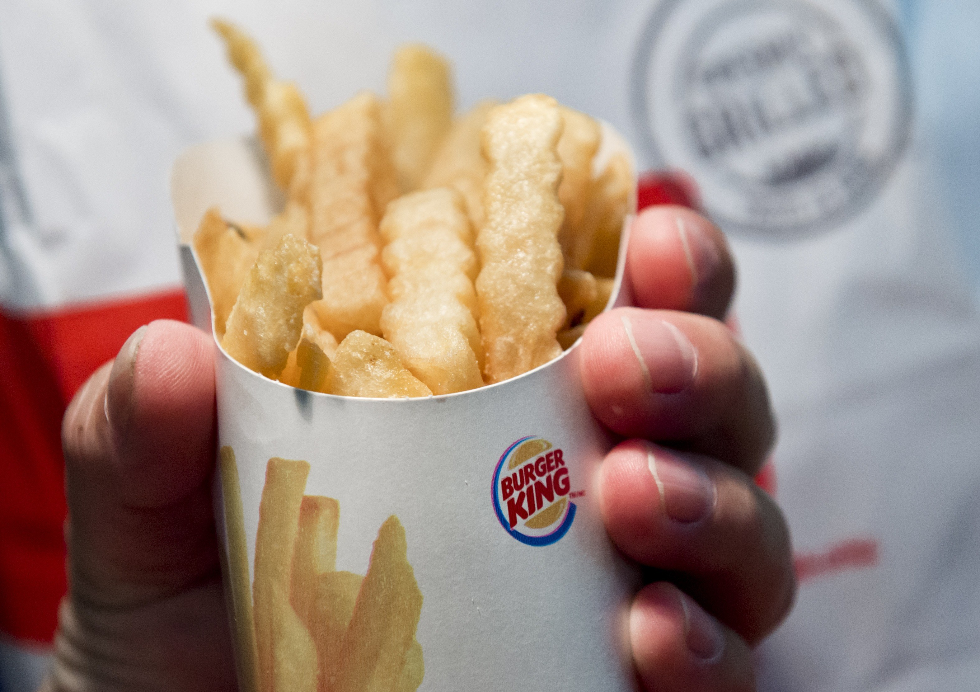 Satisfries, a lower calorie and lower fat french fry from the fast food restaurant chain Burger King