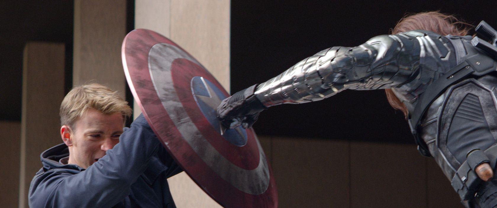 Chris Evans and Sebastian Stan in Captain America: The Winter Soldier