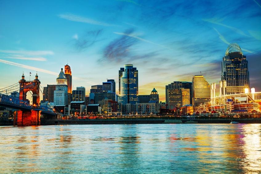 Cincinnati downtown early in the night