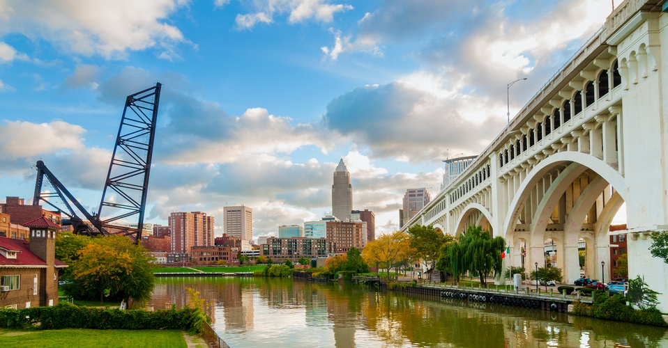 downtown Cleveland by the Veterans Memorial Bridge