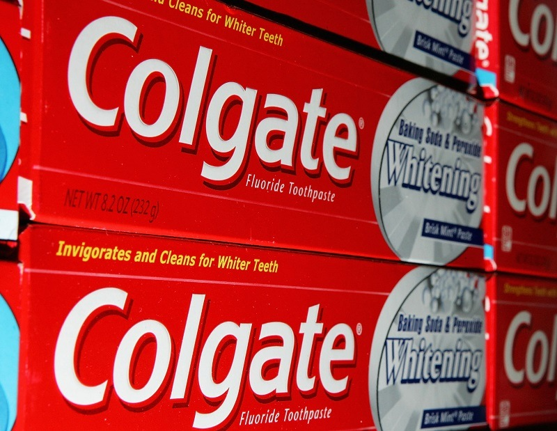 Colgate toothpaste is seen on a store shelf