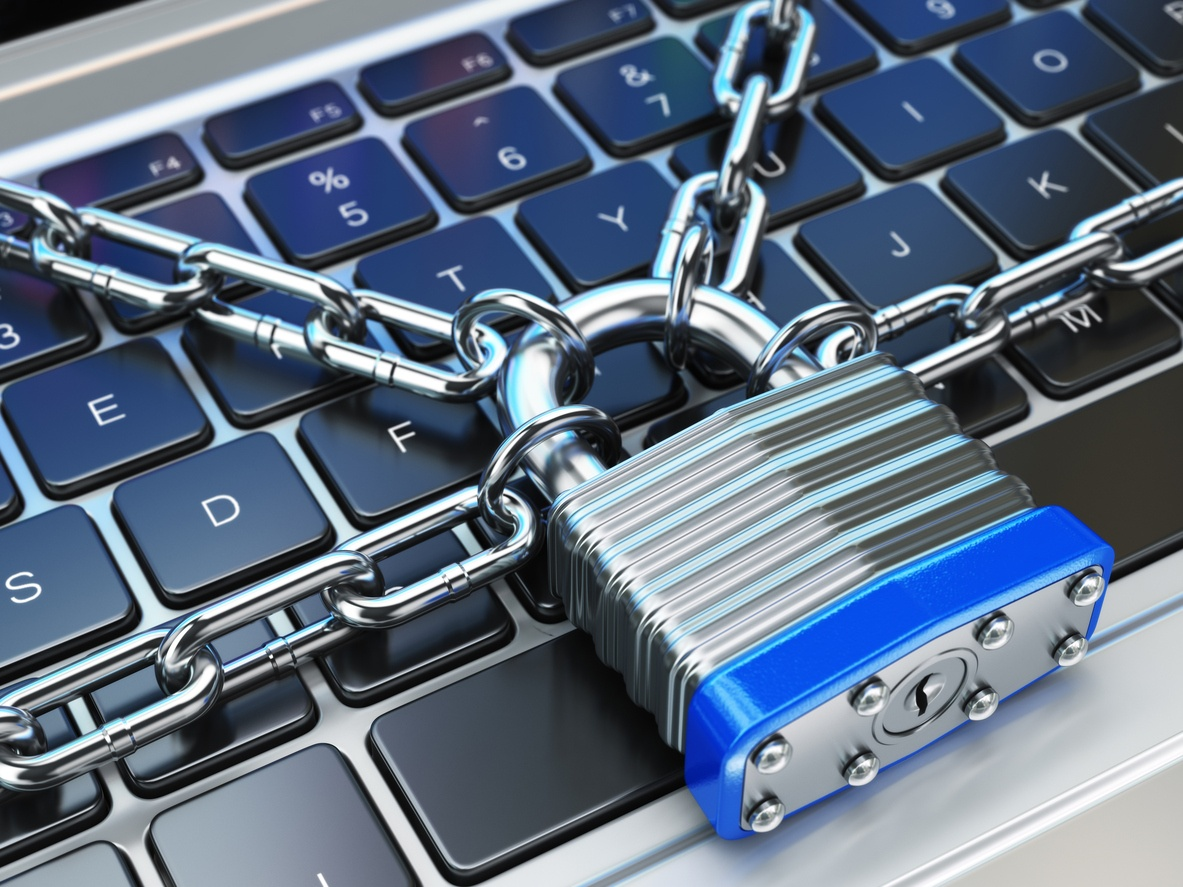 Laptop keyboard with lock and chain