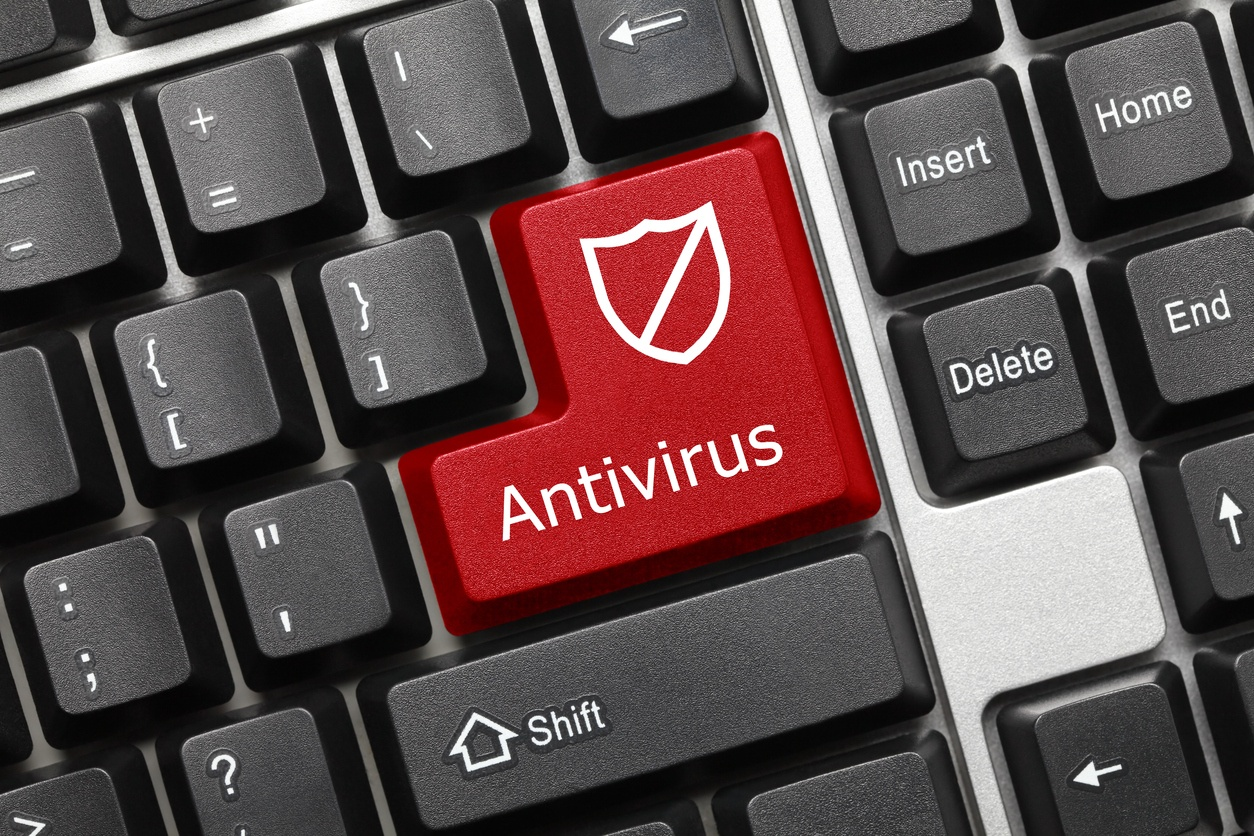 conceptual keyboard with redy key displaying 'Antivirus'