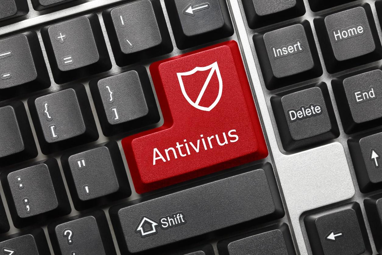 conceptual keyboard with redy key displaying 'Antivirus'
