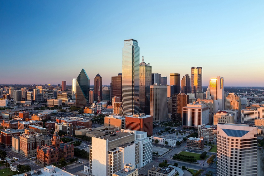 Dallas, Texas cityscape with blue sky