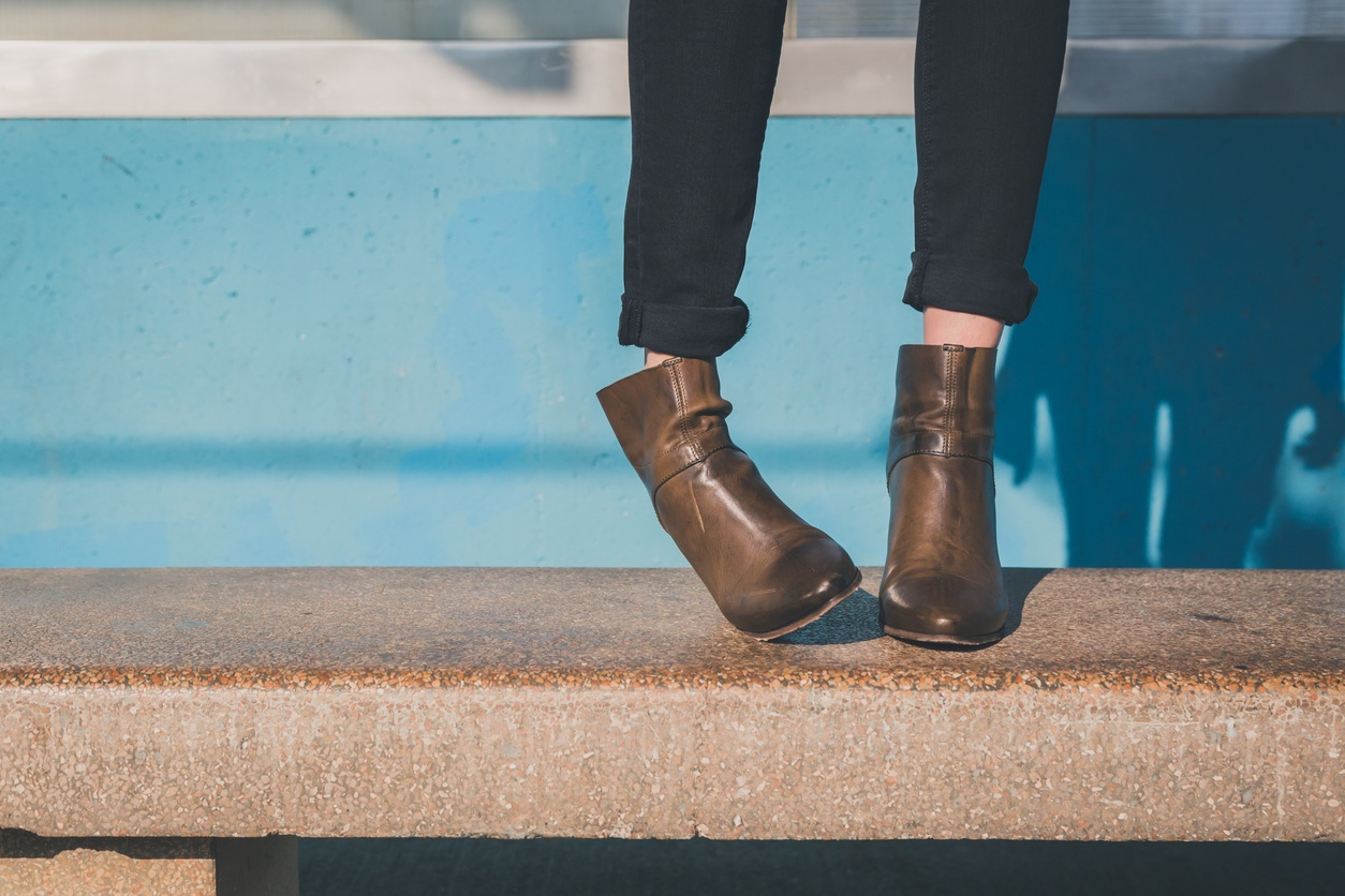 ankle boots on bench