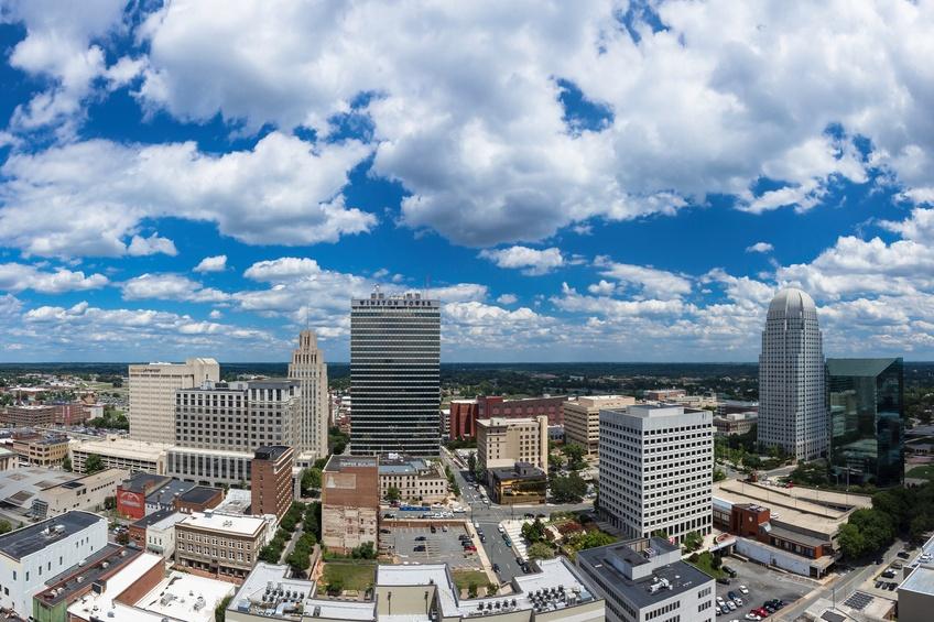 The skyline in Winston-Salem, North Carolina.