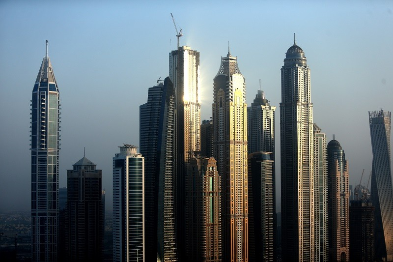 A aerial view of the buildings in Dubai